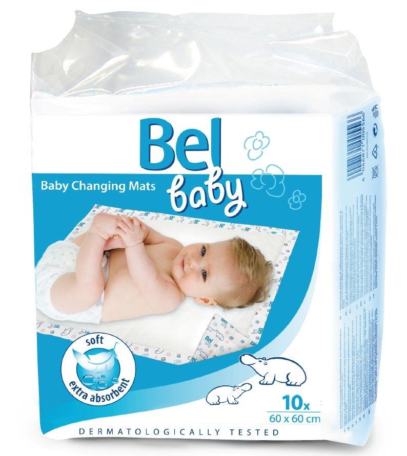 Bel Baby Changing Mats - детские впитывающие пеленки с рисунком, размер 60×60 см, 10 шт.